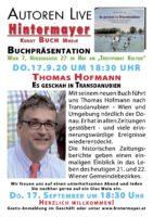 """17. September 2020: Buchpräsentation """"Es geschah in Transdanubien"""" bei Hintermayer in der Wiener Neubaugasse"""