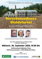 """30. September 2020: Buchpräsentation """"Verschwundenes Waldviertel"""" in Waidhofen"""